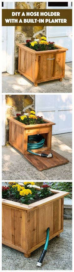 Build a unique hose holder using recycled pallet wood! This holder has a special feature; you can plant your favorite flowers on