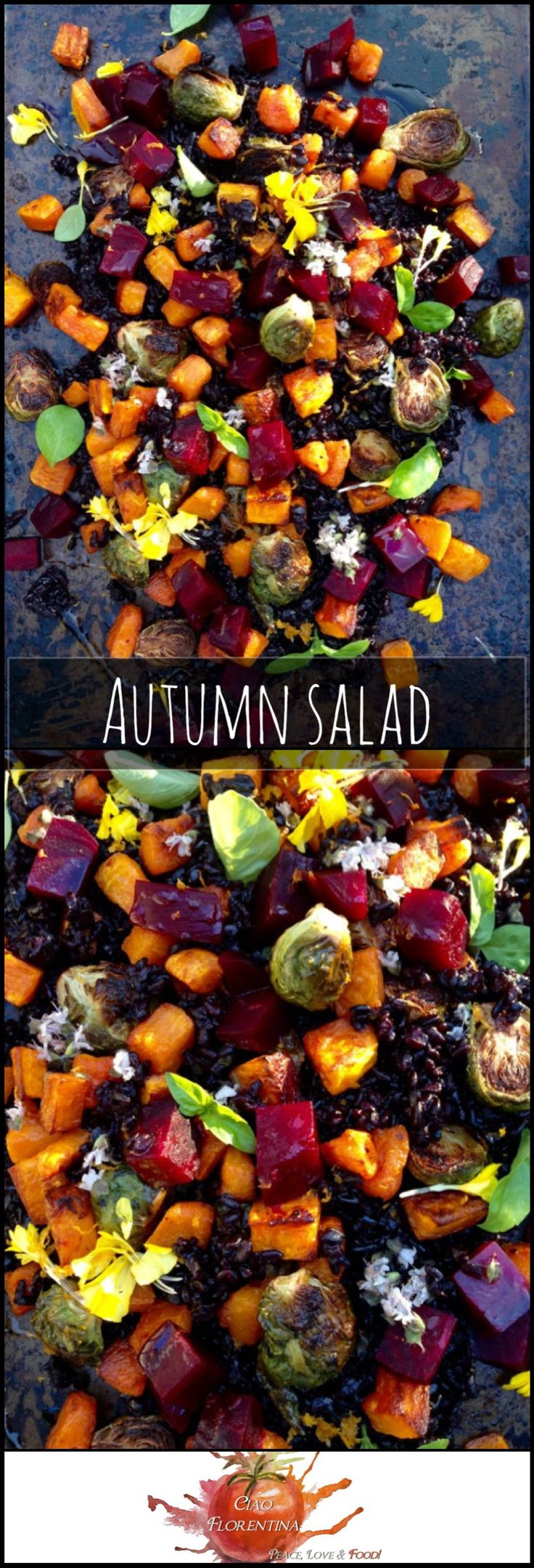 Autumn Salad Recipe of Roasted Red Beets, Butternut Squash & Roast Brussels Sprouts | www.CiaoFlorentin…