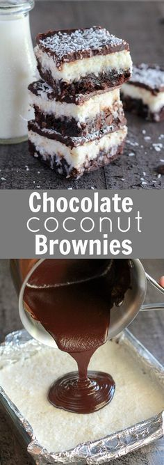 Chocolate Coconut Brownies – Fudgy brownies topped with a layer of creamy sweet coconut, and finished with a smooth chocolate