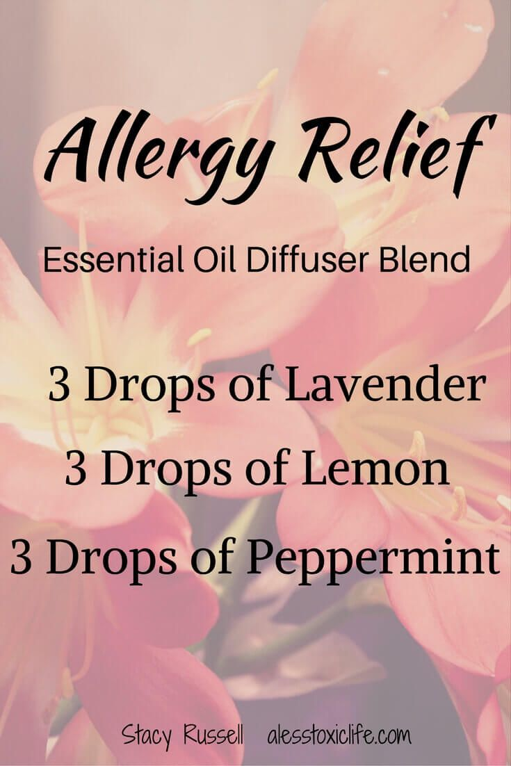 Essential Oil Blend for Allergies. I put this combination of oils in the diffuser when my girls are suffering from allergies. It