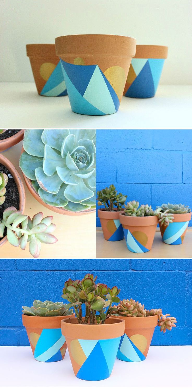 DIY: Geometric Painted Pots – the perfect way to show off your succulents and dress up your windowsill or patio!