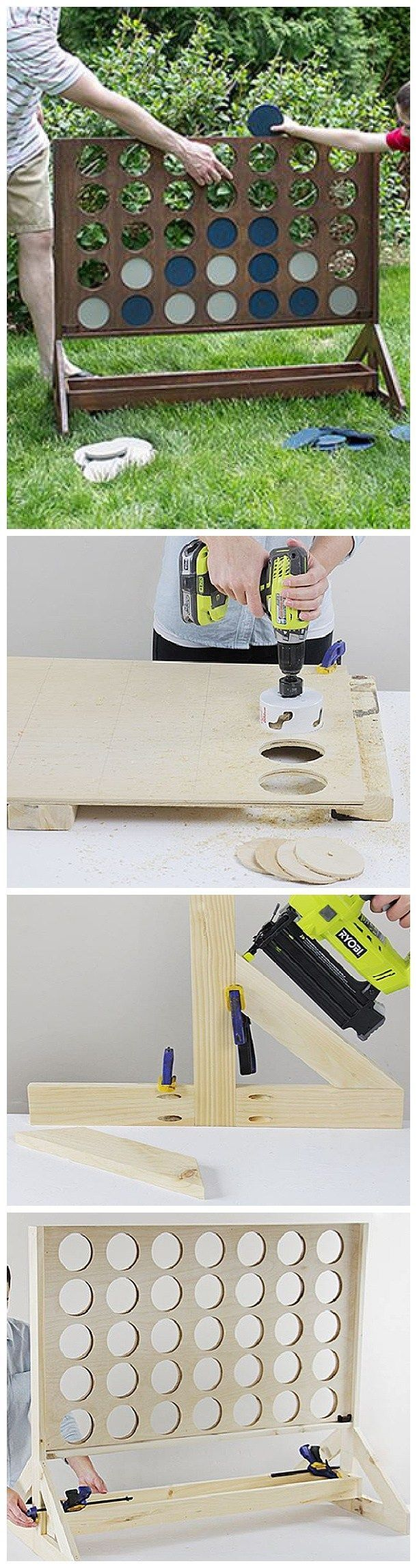 DIY Projects – Outdoor Games – Do It Yourself Connect Four or Four in a Row Game – Easy Woodworking Project – So fun for backyard