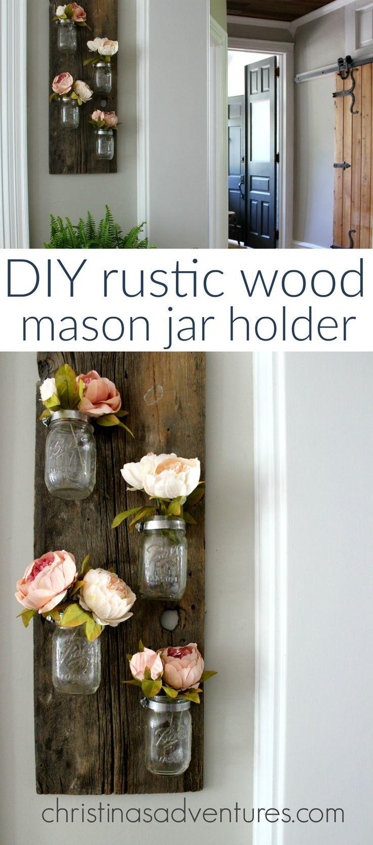 DIY rustic wood mason jar holder – so simple! A great beginners DIY project