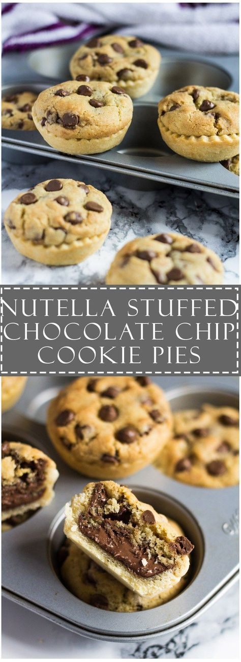 Nutella Stuffed Chocolate Chip Cookie Pies | Marshas Baking Addiction