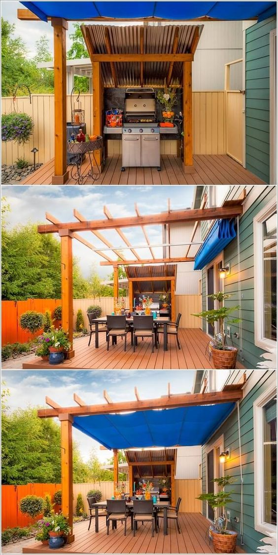 Use a Pergola and a tarp as a cover option for the grill area