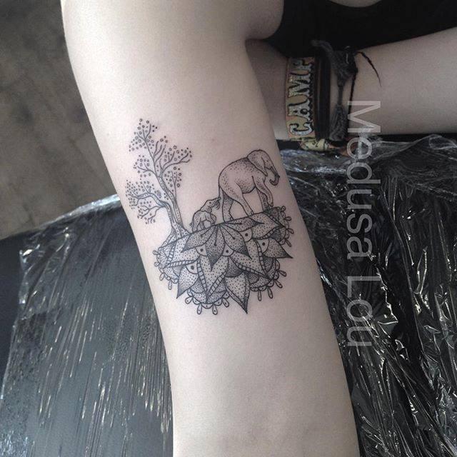 Elephant & Trees on Half Mandala tattoo by Medusa Lou Tattoo Artist – medusaloux@outloo…