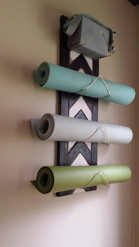 4 Tier Chevron Yoga Mat Holder – Wall mounted, yoga supplies, yoga decor, rustic, wood, yoga studio, yoga gift, handmade