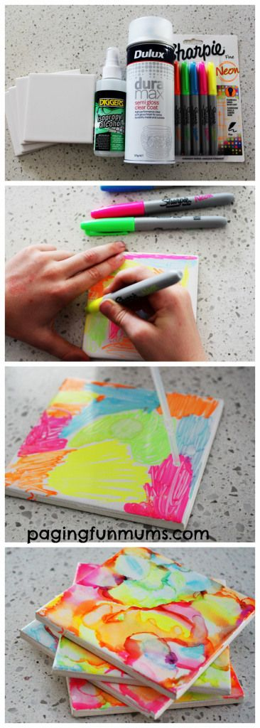 Sharpie Art Tiles made by Kids – this comes with an awesome YouTube tutorial too!