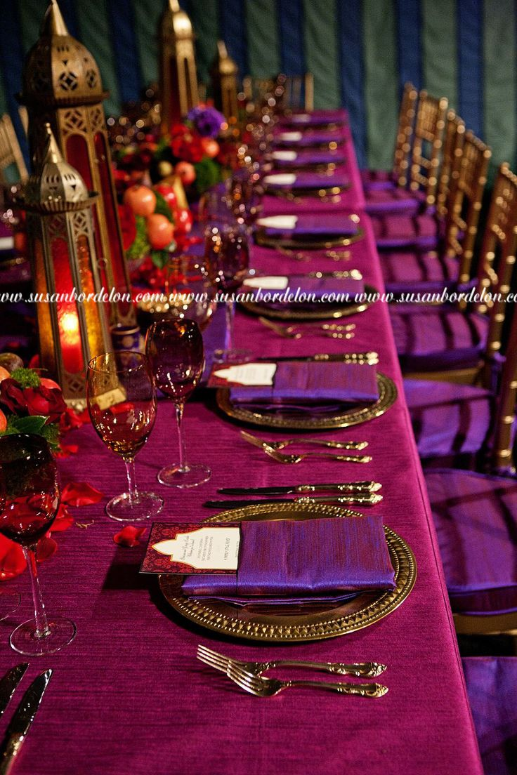 Decadent Bohemian Dining…love the sumptuous shades of purple and fuchsia !  — I would add orange to the mix!