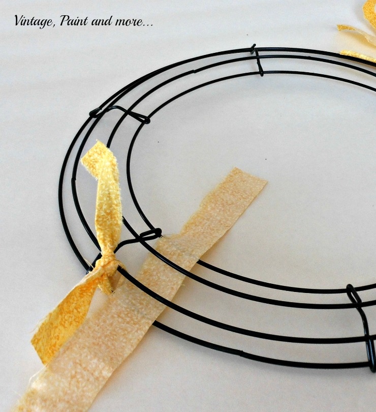 Vintage, Paint and more… placement position of second strip for fabric rag wreath