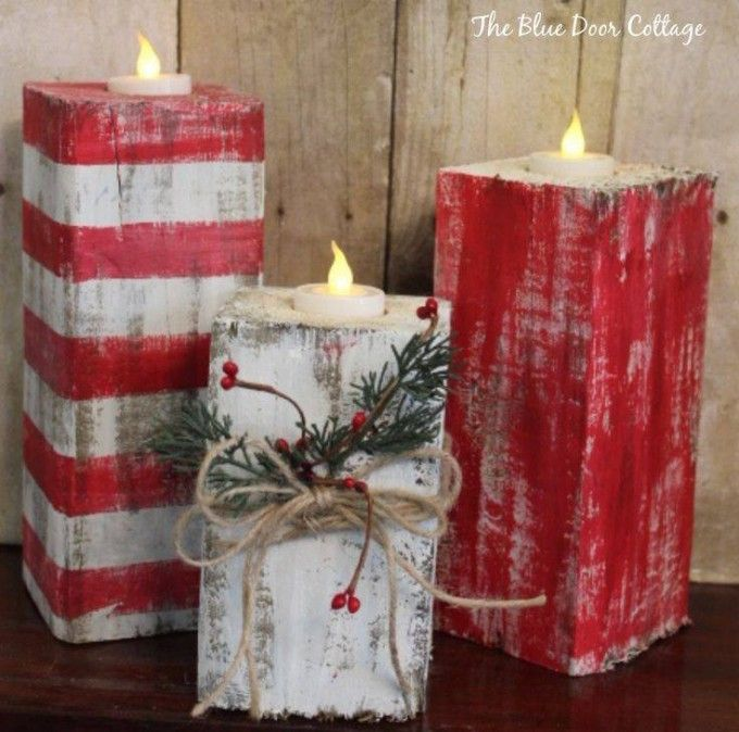 Rustic Wood Christmas Candles….these are the BEST Homemade Holiday Decorations