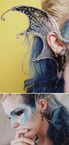 DIY Wire Mermaid Ears from YouTube User NsomniaksDream.You can create these DIY Mermaid Ears using wire, fabric, nail polish and