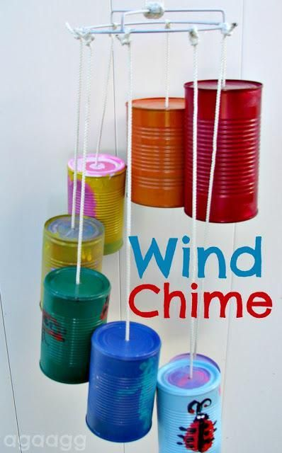 Spring and Summer Outdoor Recycled Craft for Kids.  I love the tin can wind-chime!