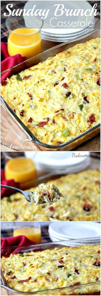 Best Recipes on Pinterest – This Sunday Brunch Casserole recipe is a hearty egg, hashbrown, bacon and cheese dish to feed a crowd.