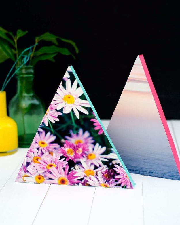 DIY Projects for Teenagers – DIY Neon Triangle Photo Frames – Cool Teen Crafts Ideas for Bedroom Decor, Gifts, Clothes and Fun