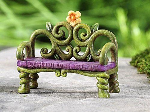 Fantasy Miniature Fairy Garden Bench Whimsical Mini Yard Décor Statue Gift Craft