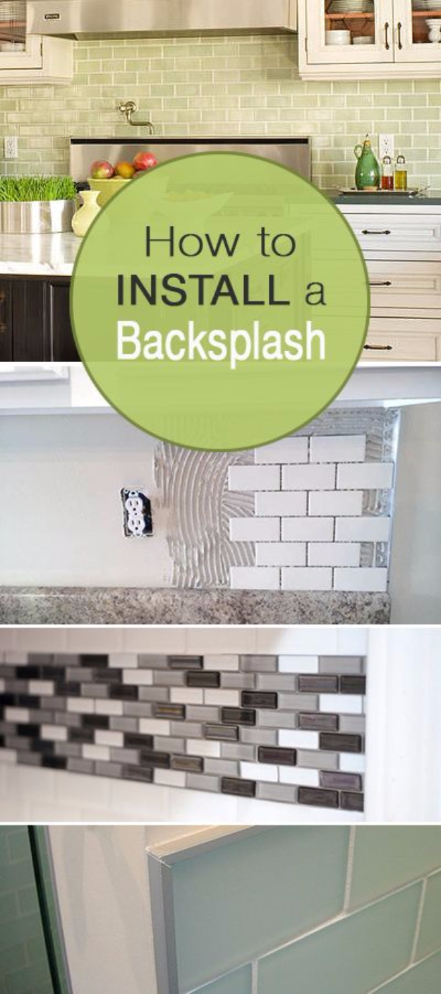 DIY Kitchen Makeover Ideas – Install A Backsplash – Cheap Projects Projects You Can Make On A Budget – Cabinets, Counter Tops,