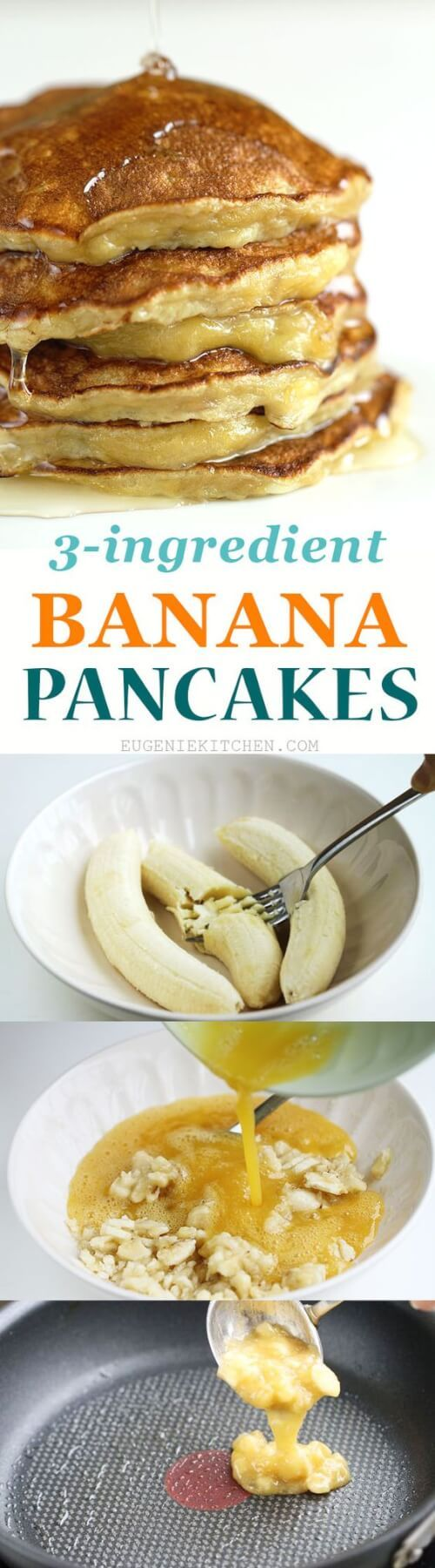 Gluten-Free, Flourless, Low-Calorie 3-Ingredient Banana Pancakes Recipe