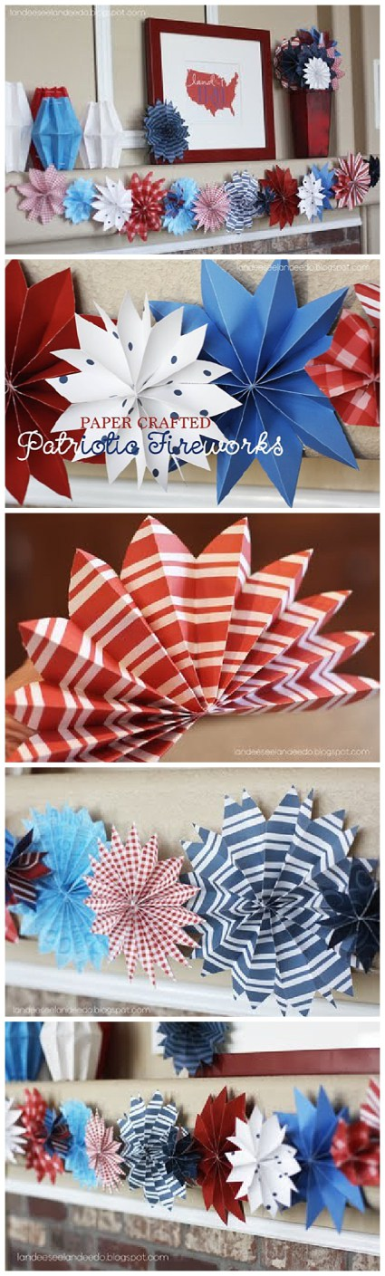 DIY Paper Red, White and Blue Fireworks – Patriotic Decorations Tutorial | Landeelu – Go through your scrapbook paper stash and