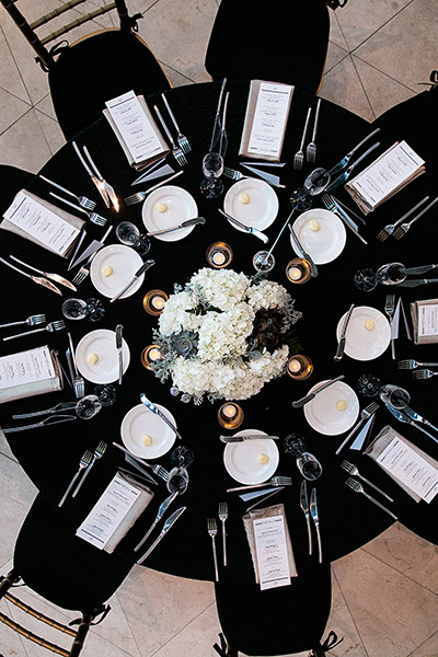 Think you cant use black as a primary wedding color? Think again. When paired with white, the effect is so timeless that youll