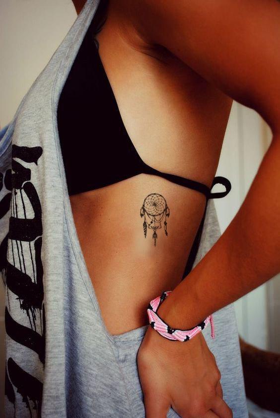 Dreamcatcher Tattoo, Small, Summer Tattoo, Beach Tattoo, Bohemian Tattoo, Boho Tattoo, Side Boob Tattoo #side_rib_tattoo