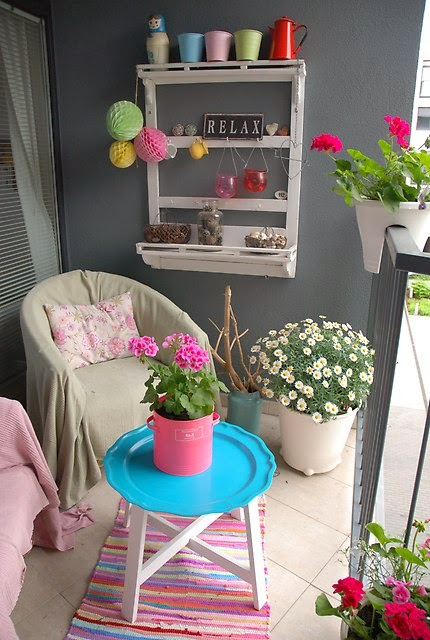 Bright and colourful small balcony/terrace/patio.  For similar pins please follow me at – www.pinterest.com…