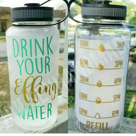 CLEAR Inspirational Motivate Me You Water Tracker Bottle Times Exercise H2O Drink Mom Boss Funny Humor Coach Beachbody Custom Chug