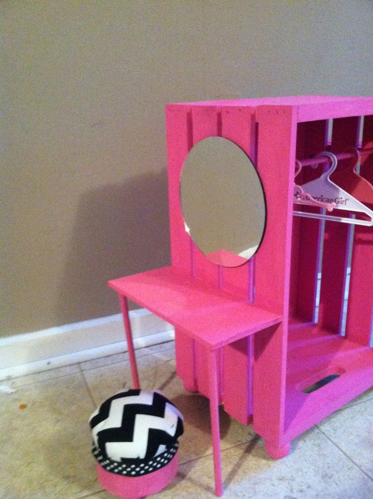 Closet made from a crate (JoAnnes or Michaels craft store) with vanity …