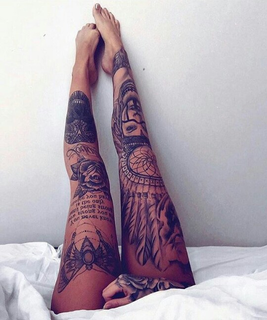 Whole right leg but with a wolf in the Indian headress tat.