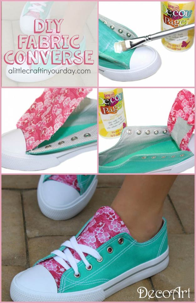DIY Fabric Accent Sneakers | Cute and Creative Crafts by DIY Ready at diyready.com/…