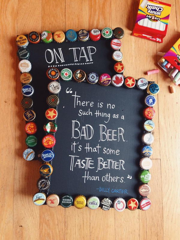 DIY Bottlecap Picture Frames with Chalkboard Paint – Cool Chalkboard Paint Ideas, hative.com/…,