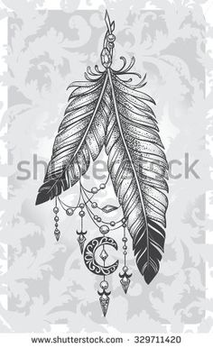 Two feathers tattoo with pendants in the form of crystals and crescent style Dotwork on a patterned background – stock vector