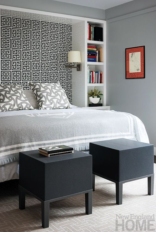 I like the bookshelf idea to frame the bed to make an inlaid headboard with wall paper