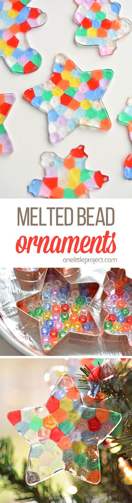 These melted bead ornaments are SO BEAUTIFUL! And theyre so easy to make with pony beads! You can hang them on the Christmas tree,
