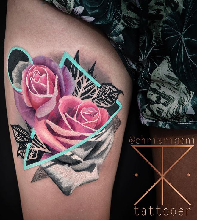 Pink Rose on Leg Tattoo #geometric_tattoo_color