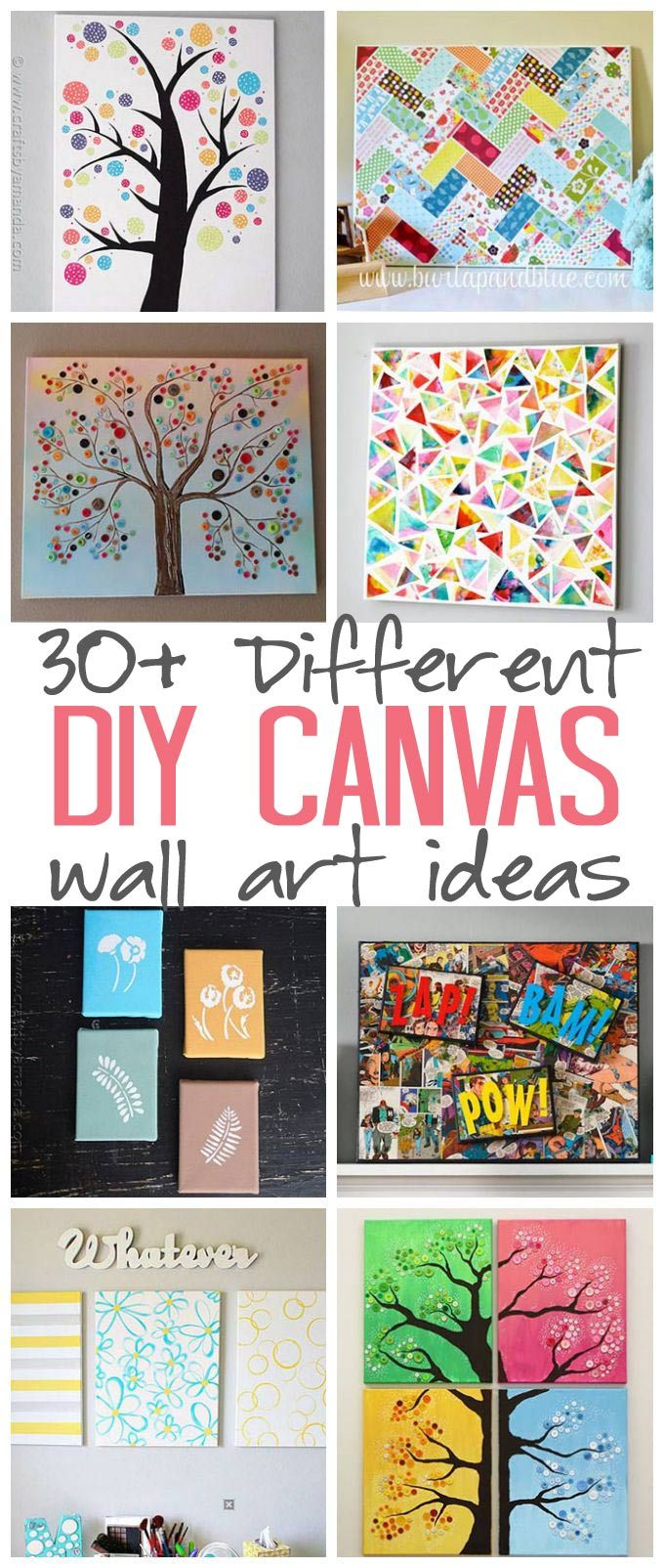 DIY Canvas Wall Art Ideas: 30+ canvas tutorials for adults – great ideas for your home, office, nursery and craft room!