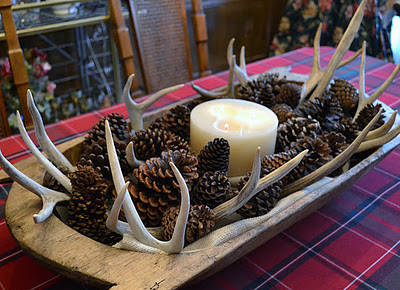 Antlers and Pine cone display…very organic and rustic setting for the holidays.  I might even add a sprig or two of greenery