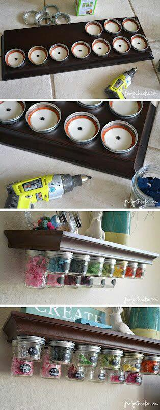 DIY craft room organization that is cute and cheap.