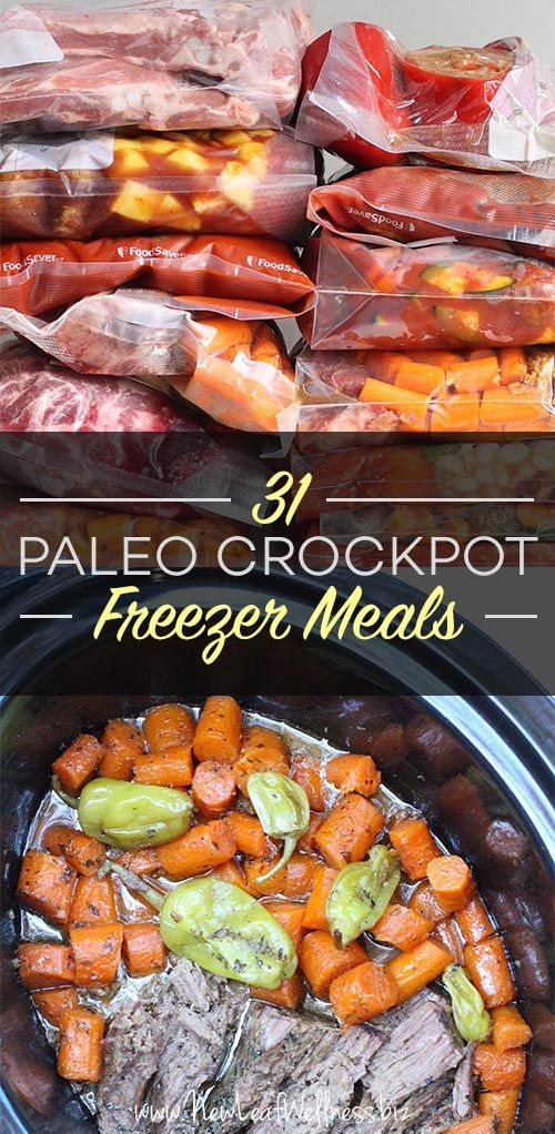 Kelly from New Leaf Wellness has a great list of 31 Paleo Crockpot Freezer Meals. Her free download includes grocery