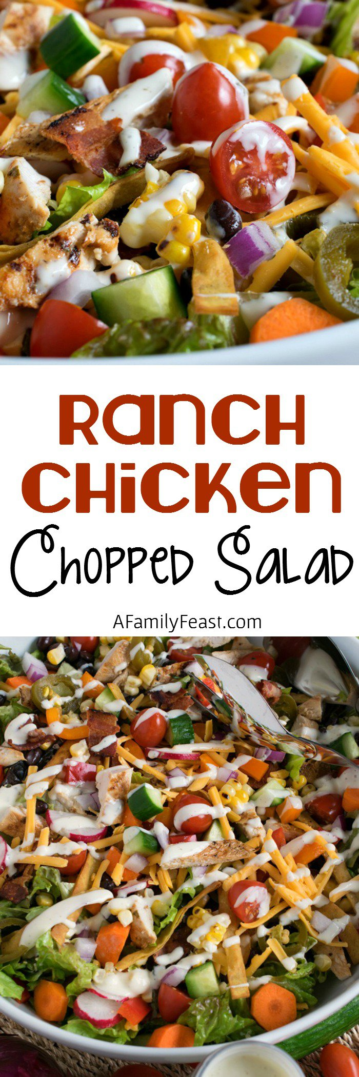 Ranch Chicken Chopped Salad – Grilled chicken, fresh veggies, tortilla strips and cheese – plus a delicious Ranch Dressing!