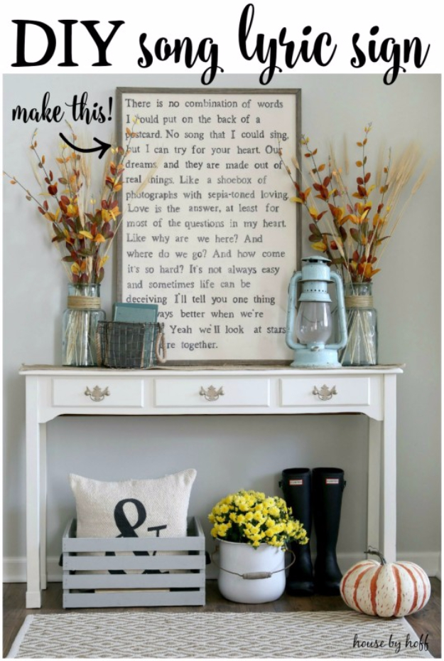 DIY Ideas for Your Entry – Entryway Song Lyric Sign DIY – Cool and Creative Home Decor or Entryway and Hall. Modern, Rustic and