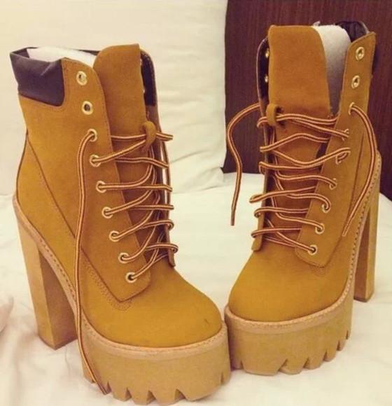 shoes timberlands brown rihanna boots wedges high heels