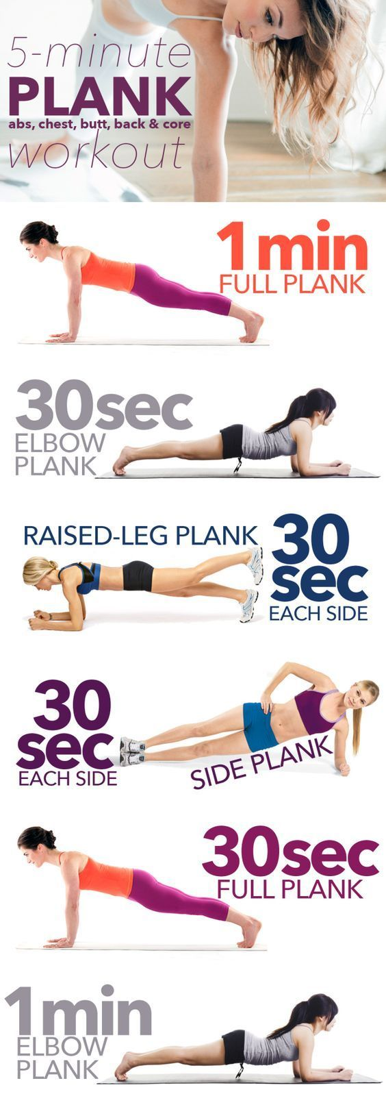 The 5-minute full-body plank workout that requires almost no movement… but you'll feel it working! | Workout | Pinterest | Plank