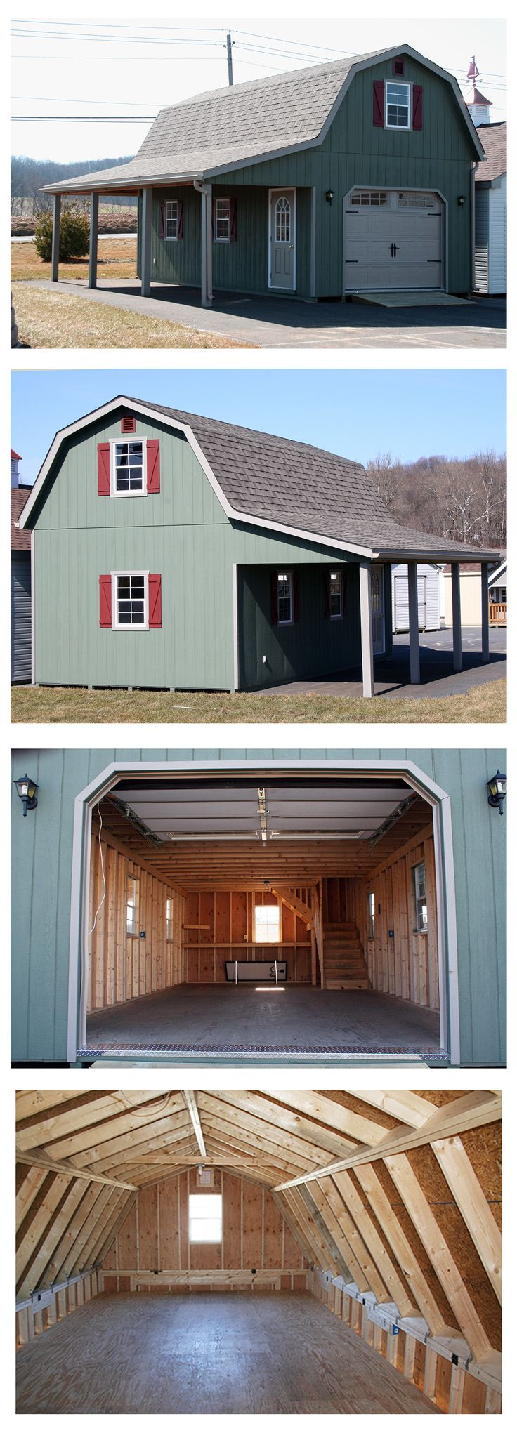 "1 Car 1 Story Garage. The gambrel (""barn style"") roof maximizes storage space on the upper level."