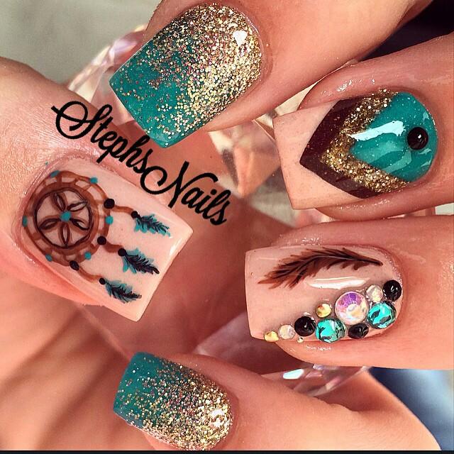 30 Boho Dream Catcher Nail Art Designs miascollection.com