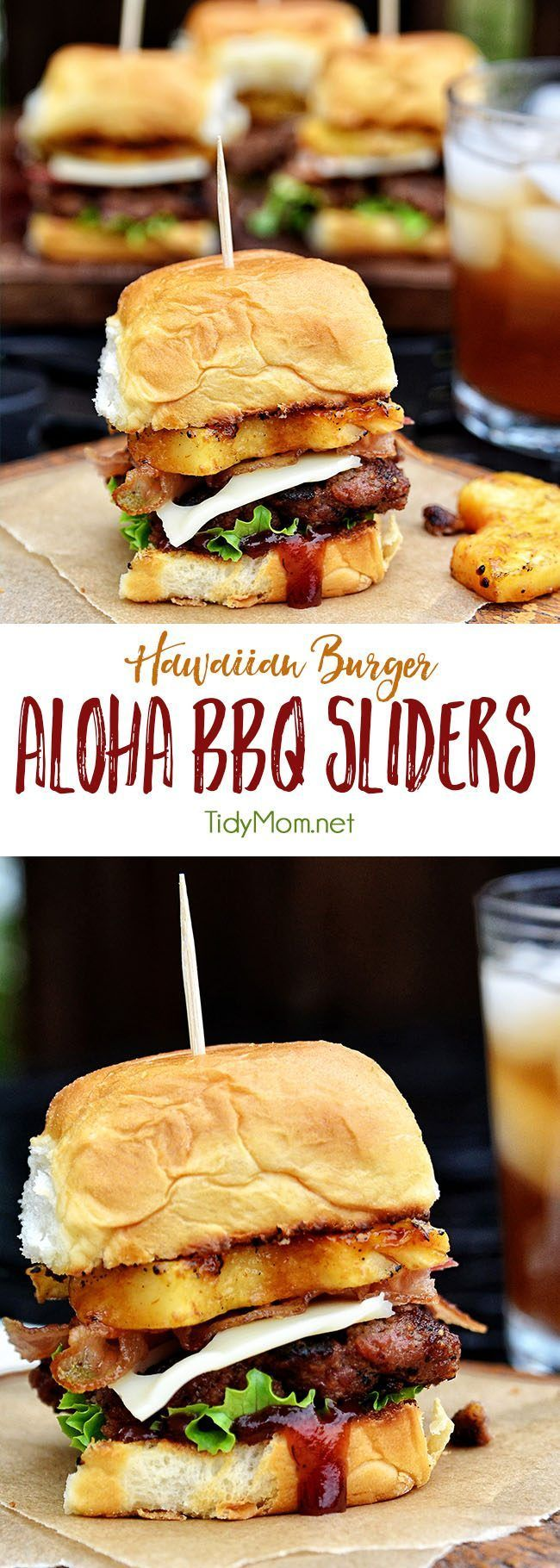 Fire up the grill for this Hawaiian burger recipe. Aloha BBQ Sliders are flavored with BBQ sauce, served on sweet rolls with