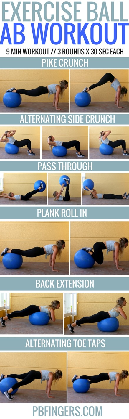 Exercise Ball Ab Workout: A challenging stability ball ab workout that will work your entire core in only 9 minutes.