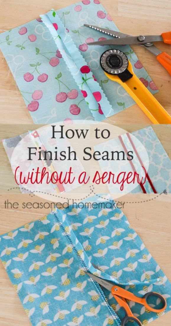 Use pinking shears or the zig zag stitch to finish a seam without a serger – this will save time and make life easier! | 25 More