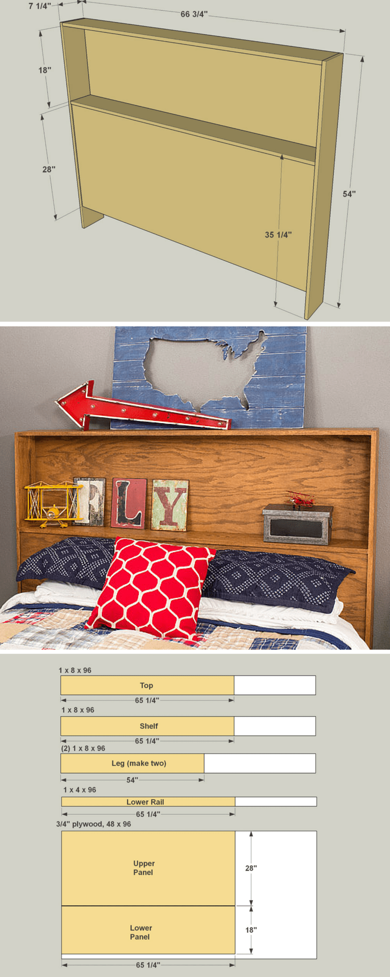 How to Build a DIY Storage Headboard | Free Printable Project Plans on buildsomething.com | This headboard offers a storage shelf