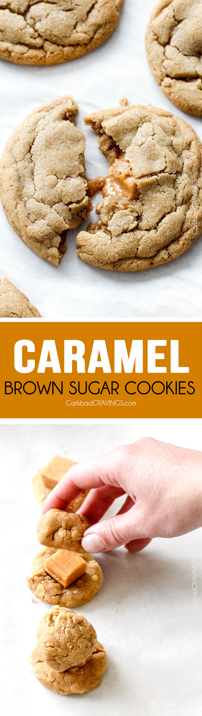 Caramel Stuffed Brown Sugar Cookies are incredibly soft and chewy and infused with brown butter! Best cookies EVER! and no chill